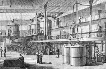 Candy Interior, vintage engraving.
