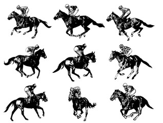 racing horses and jockeys  - vector