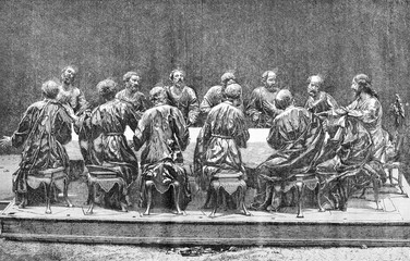 Bas-relief sculpture in the church of Jesus, in Murcia, vintage