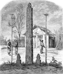Hieroglyphic column, idols and winter home of Gholds, vintage en