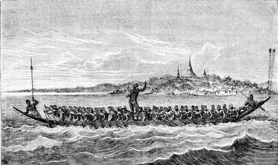 Canoe racing in Cambodia, vintage engraving.