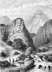 View taken on the course of the Arc, vintage engraving.