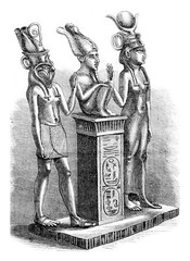 Louvre Museum, Isis, Osiris and Horus, vintage engraving.