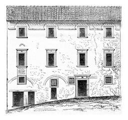 House of Raphael, Urbino, vintage engraving.