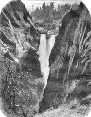 Aare to the Handeck Switzerland, vintage engraving.