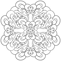 Beautiful  vector  mandala Flower. Monochrome Ornamental round floral object.