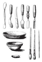 Utensils and tools for molding, vintage engraving.