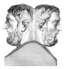 Hermes of Epicurus and Metrodorus, vintage engraving.