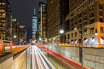 Fototapeta Traffic trails in downtown New York City at the entrance in Battery Park tunnel obraz