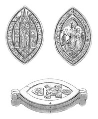 Sister Boxgrove Priory, Cast seal, vintage engraving.