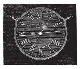 Robert Henri clock, vintage engraving.