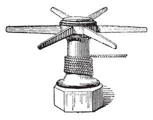 Capstan, vintage engraving.