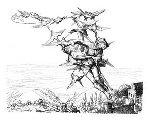 An Adventure of Baron Munchausen, printmaking Mr Schroedter, vin