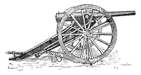 Field-gun, vintage engraving.
