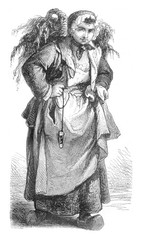 Merchant of oysters, vintage engraving.
