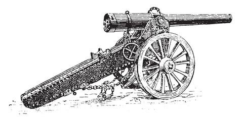 Siege Cannon, vintage engraving.