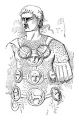 Decorated Roman warrior, vintage engraving.