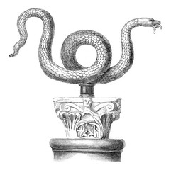 Snake bronze Serpent of Moses says, in the church St. Ambrose of