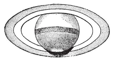 Maximum aperture of Saturn's rings, June 1869, vintage engraving