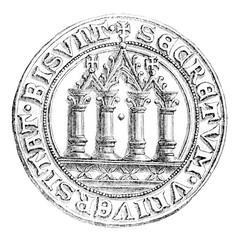 Small seal of the town of Besancon, vintage engraving.