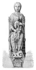 Interior paintings of the Virgin opens, vintage engraving.