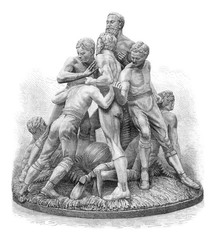 The game of football in England, terracotta group, Tinworth, vin