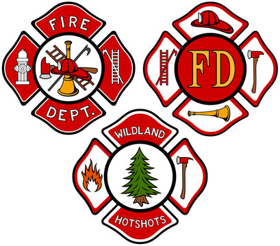 Vector illustration of a variety of fire department emblems.