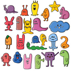 Funny monsters graffiti. Hand drawn sketch art. Doodle vector illustration. can be used for backgrounds, t-shirts