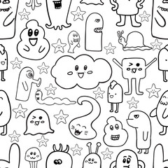 Doodle vector seamless pattern with monsters. Funny monsters graffiti. can be used for backgrounds