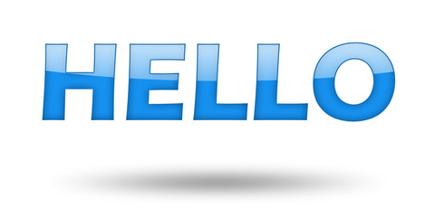 Text HELLO with blue letters and shadow.