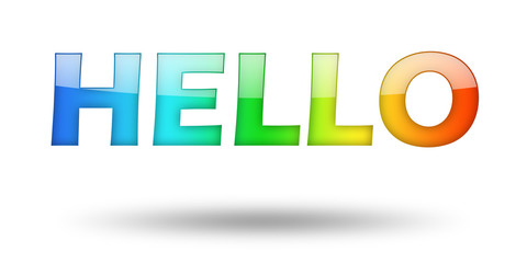 Text HELLO with colorful letters and shadow.