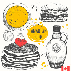 Canadian food in the sketch style.  Main course and snacks.