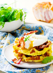 potato waffle with bacon and egg