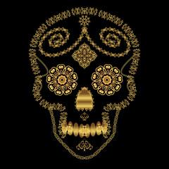 Gold ornamental sugar skull.