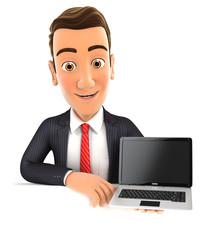 3d businessman behind wall holding laptop