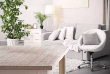 Wooden board on living room background