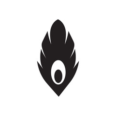 Flat icon in black and white feather