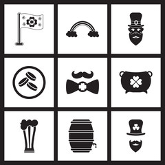 Concept flat icons in black and white St. Patrick's Day