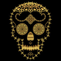 Gold ornamental sugar skull. Dia de los Muertas Day of the Dead