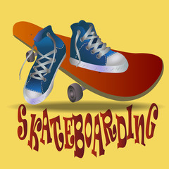 shoes stand on a skateboard, vector