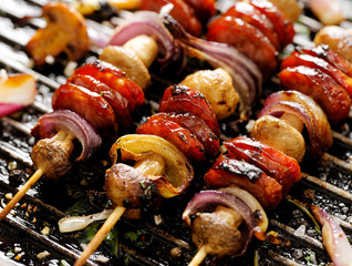 Grilled Skewers of  sausage, mushrooms and onion