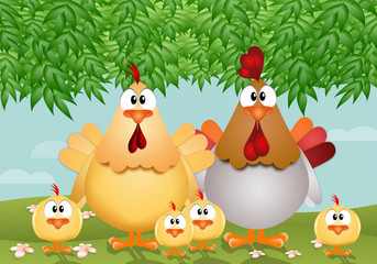 Funny hen with her family