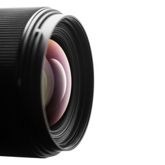 Camera lens close up on white background