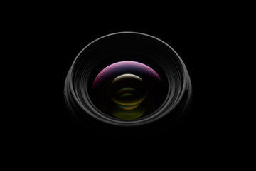 Camera lens close up on dark background Wall mural