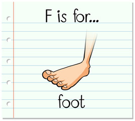 Flashcard letter F is for foot