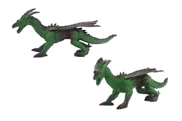 Isolated dragon toy photo. Isolated dragon toy side and angle view.