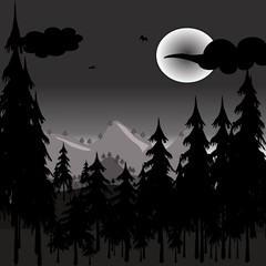 pine forest with the fullmoon