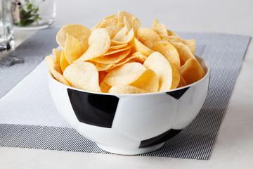 football bowl of chips sports fan food fans