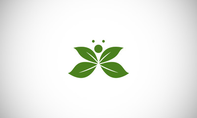 green leaf abstract butterfly logo