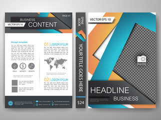 Vector magazine,modern flyers brochure,cove,annual report,design templates,layout with orange blue abstract square background in a4 size,To adapt for business poster,presentation,illustration